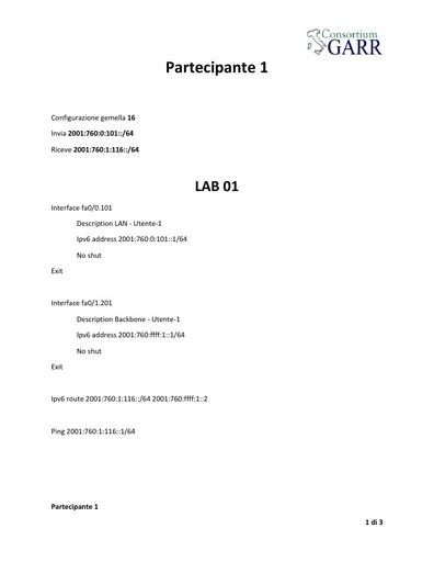 Corso IPv6  - Configurazioni